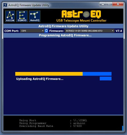 Uploading the AstroEQ Firmware